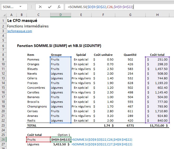 Fonctions Excel SOMME.SI