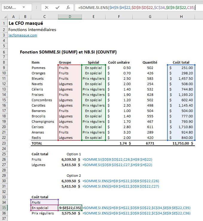 Fonctions Excel SOMME.SI.ENS