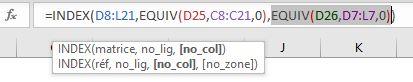 Index/Equiv EQUIV pour trouver numéro colonne