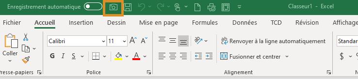 Excel - Appareil photo - Ajouté à la barre d'Accès rapide