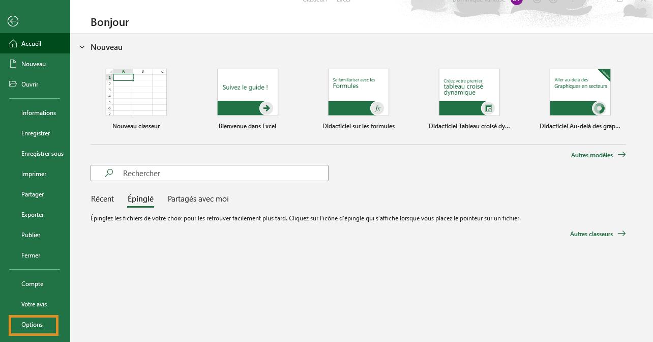 Excel - Appareil photo - Options