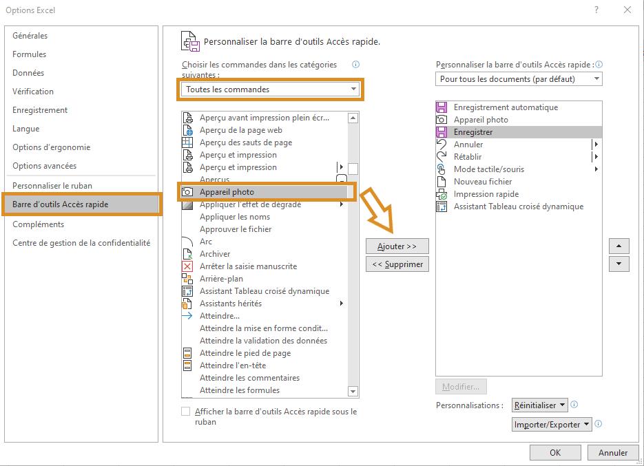 Excel - Appareil photo - Ajout ruban