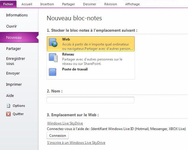 onenote  un bloc