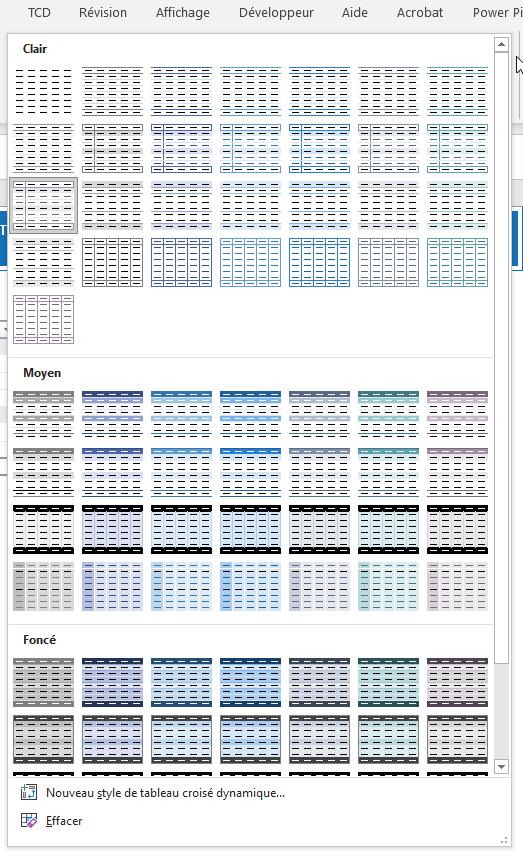 Thèmes avec Excel - Menu création ouvert
