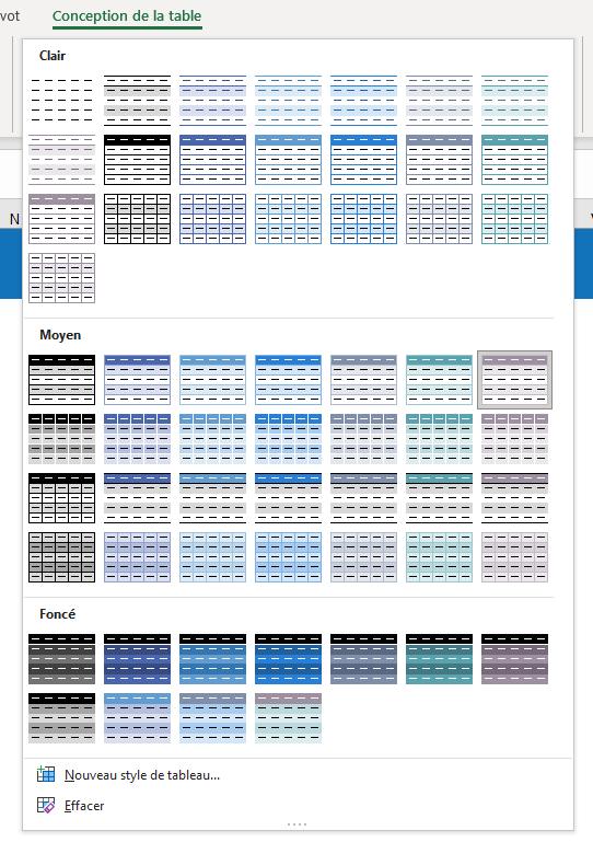 Thèmes avec Excel - Menu conception ouvert