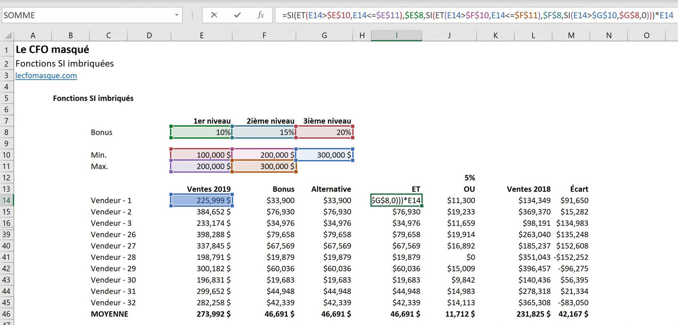 Imbriquer une fonction Excel ET dans une fonction SI