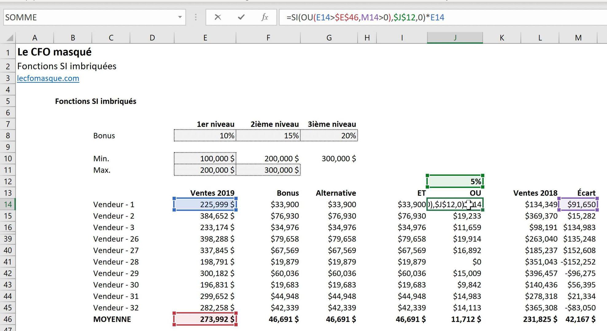 Imbriquer la fonction Excel OU dans une fonction SI