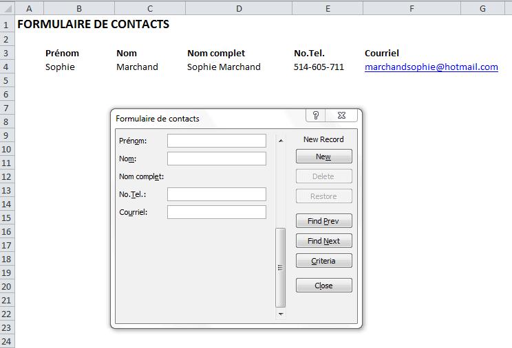 Formulaire Excel