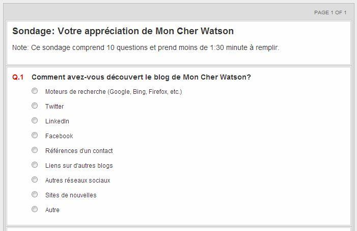 Sondage Mon Cher Watson