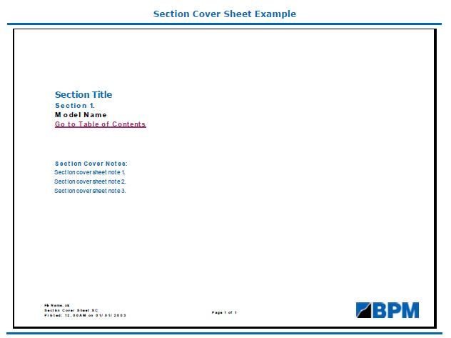 Section sheet cover example
