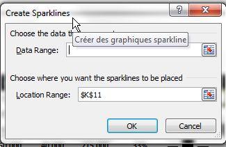 Sparkline boîte de dialogue