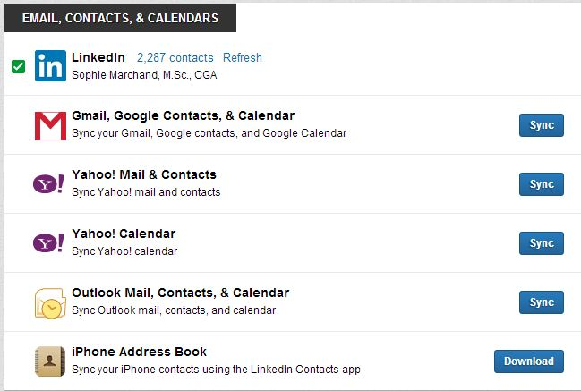 Linkedin contacts fenêtre 1