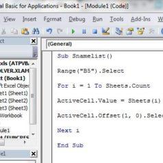 Excel Macro Liste Onglets