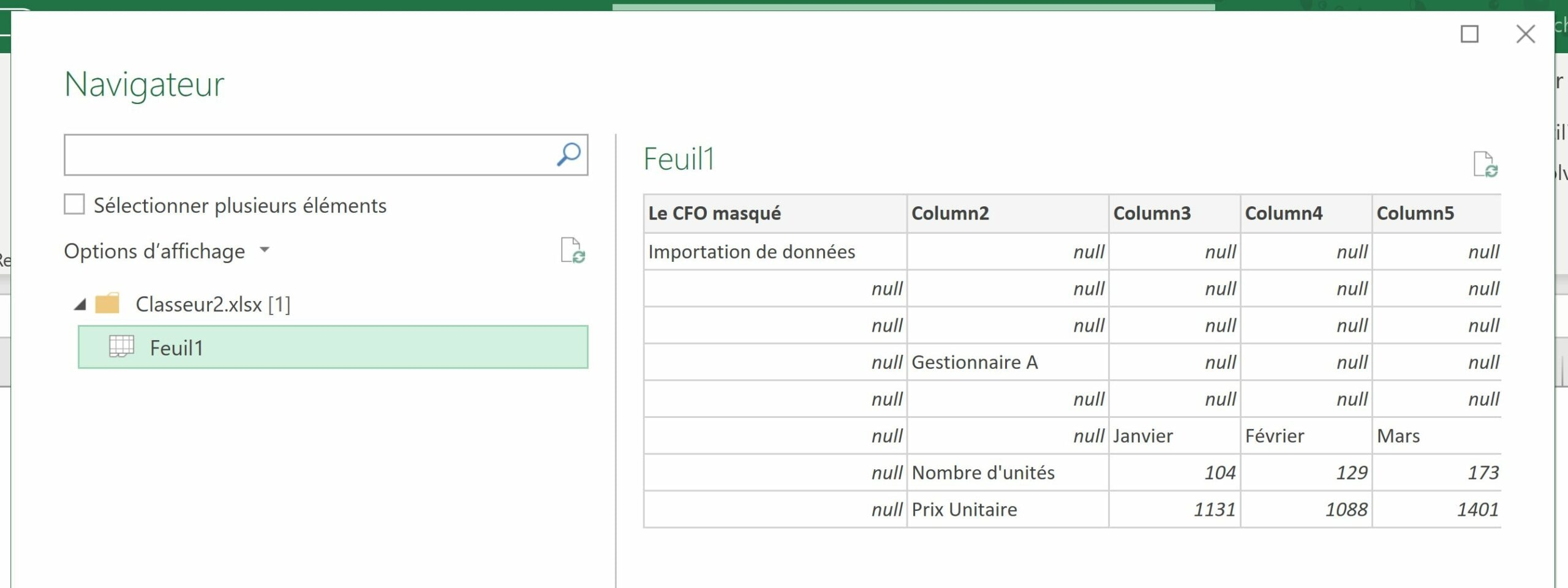 Fichier Excel importé via Power Query