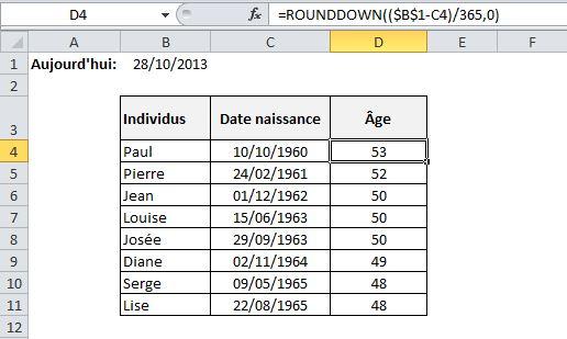 Calcul âge dynamique