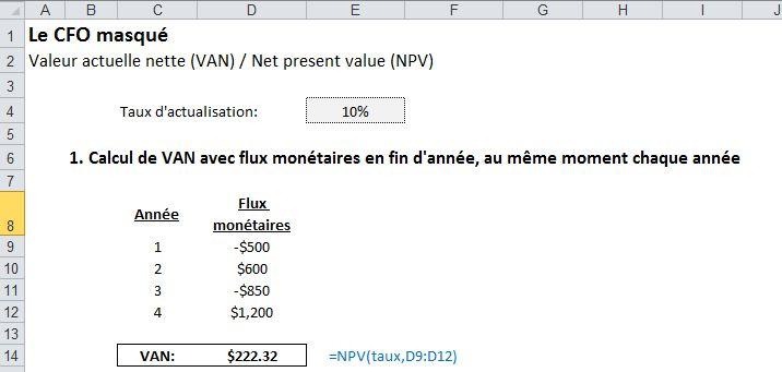 Excel Calculer Differents Types De Valeurs Actuelles Nettes Le