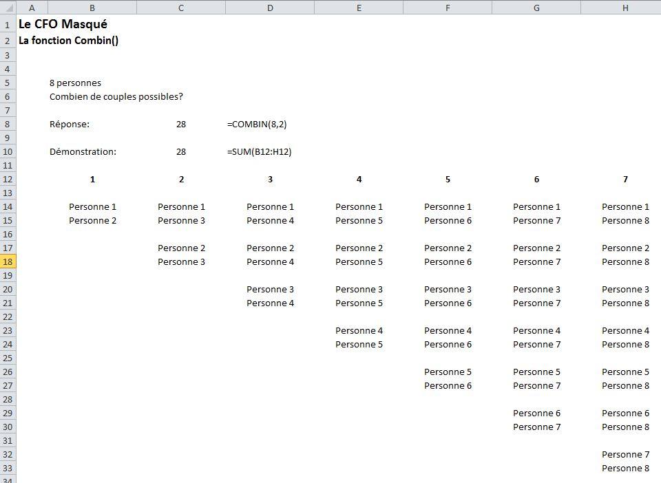 Fonction Excel Combin