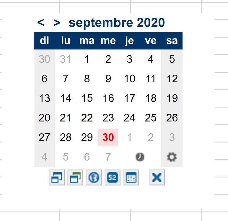 Complément de calendrier pour Excel