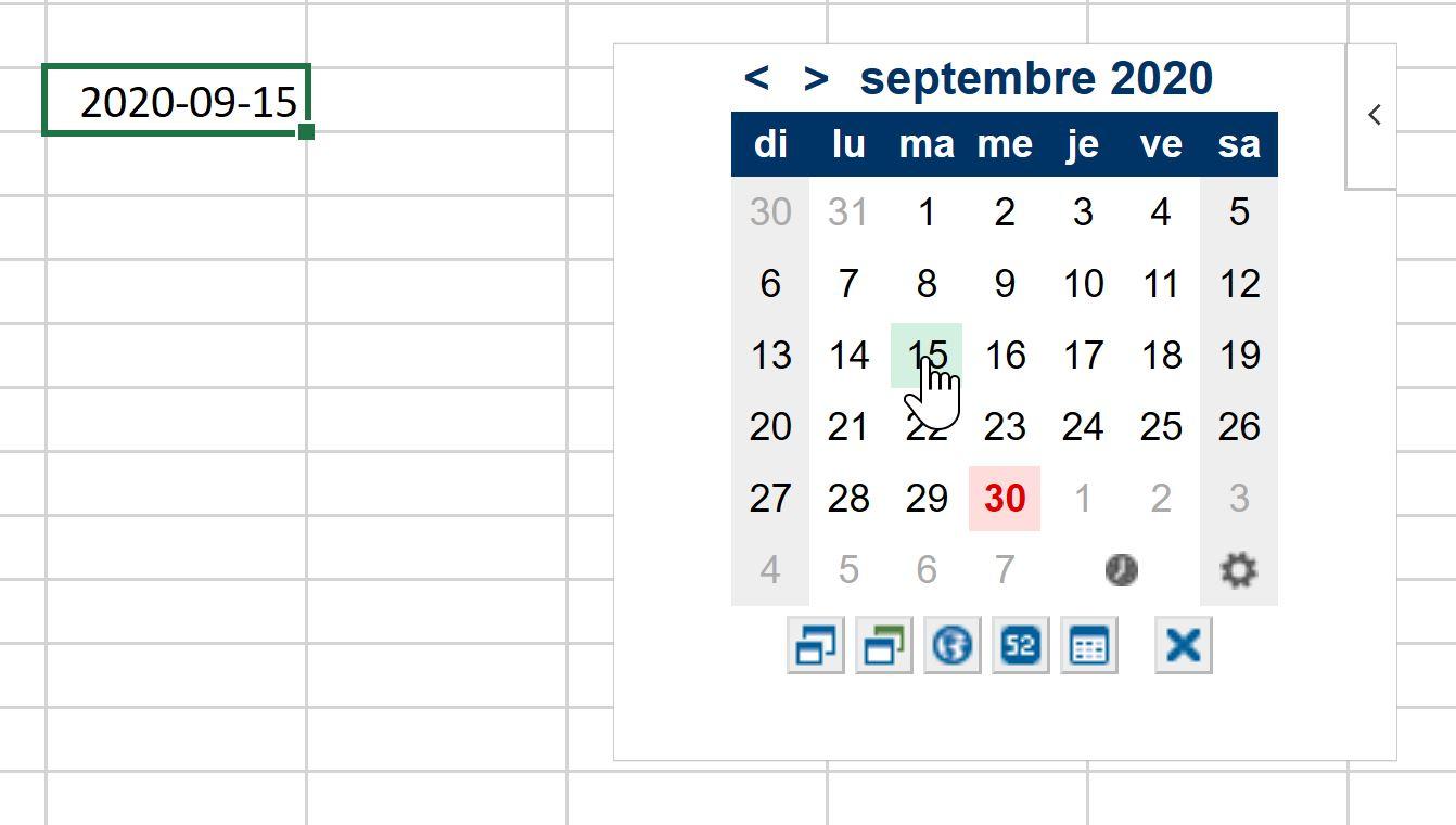 Sélectionner une date dans le complément Calendrier pour Excel