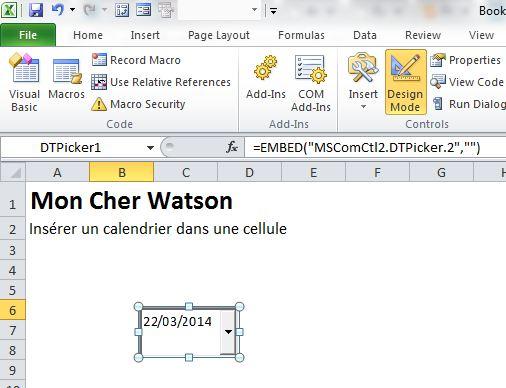 Excel Inserer Un Calendrier Dans Une Cellule Le Cfo Masque