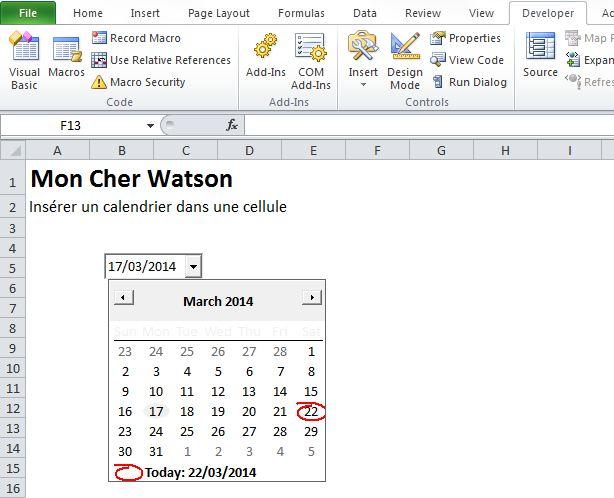 Calendrier dans une cellule Excel