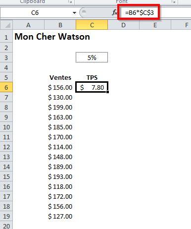 Copier une formule en colonne