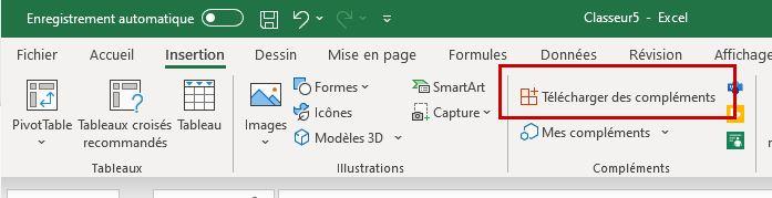 Télécharger un complément Excel