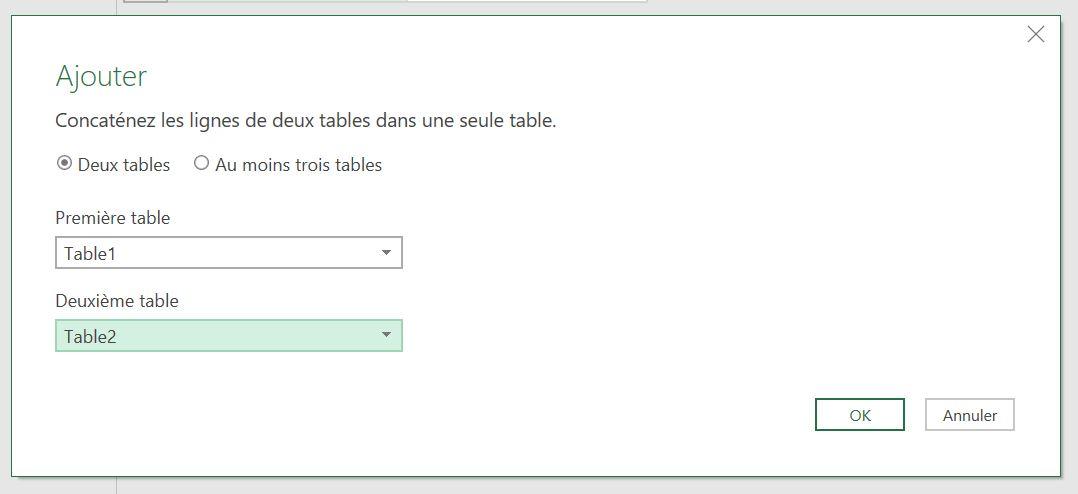 Fusionner des tables
