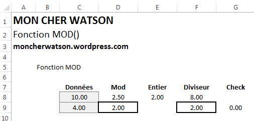 Fonction Excel MOD()