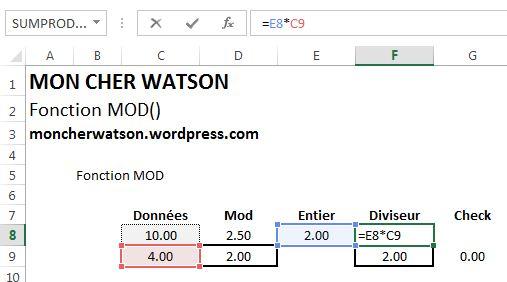 Excel Fonction MOD()