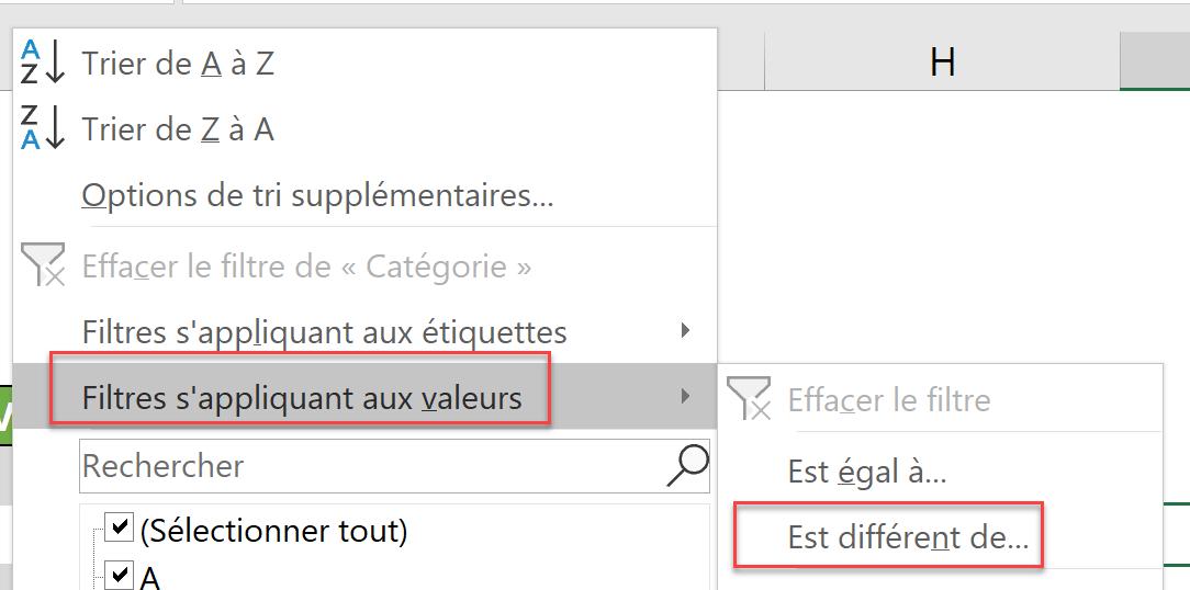 Option 2 filtre s'appliquant aux valeurs