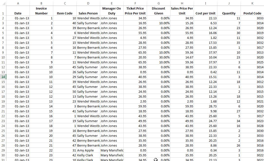 Base de données Excel