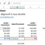 Calcul de l'amortissement dégressif à taux double (double declining method)