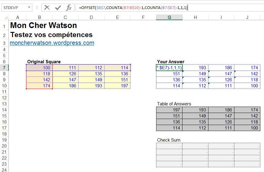 Défi Excel #2