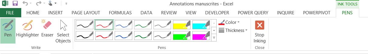 Excel: Annotations manuscrites - Menu contextuel