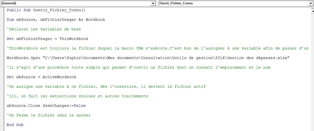 Ouvrir fichier avec VBA