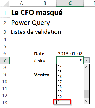 Power Query ajout liste validation