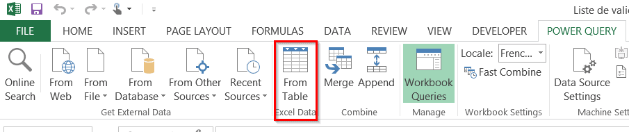 Power Query from table