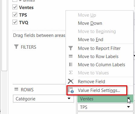 Paramètres de champs de valeurs