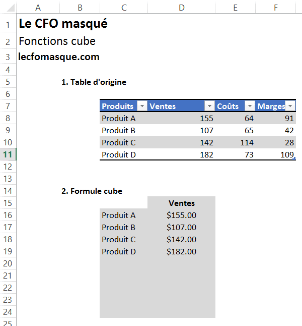 Excel - Formules Cube
