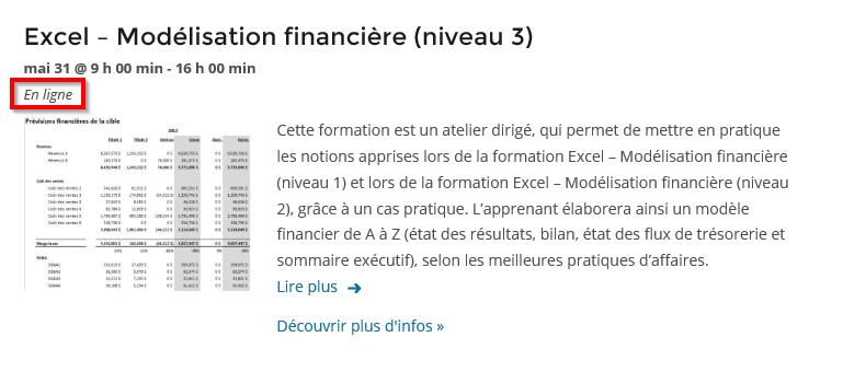 Atelier Modélisation financière en ligne