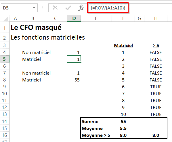 Fonction matricielle Excel