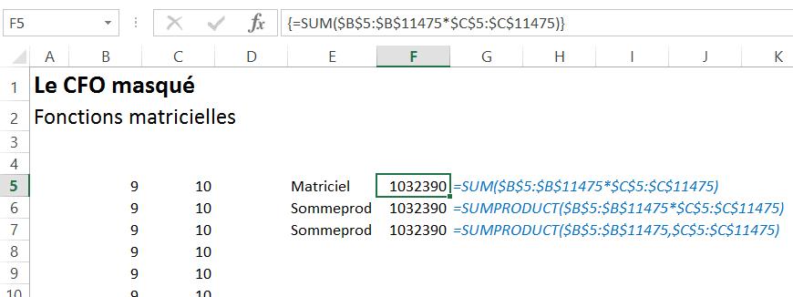 Fonction matricielle vs sommeprod
