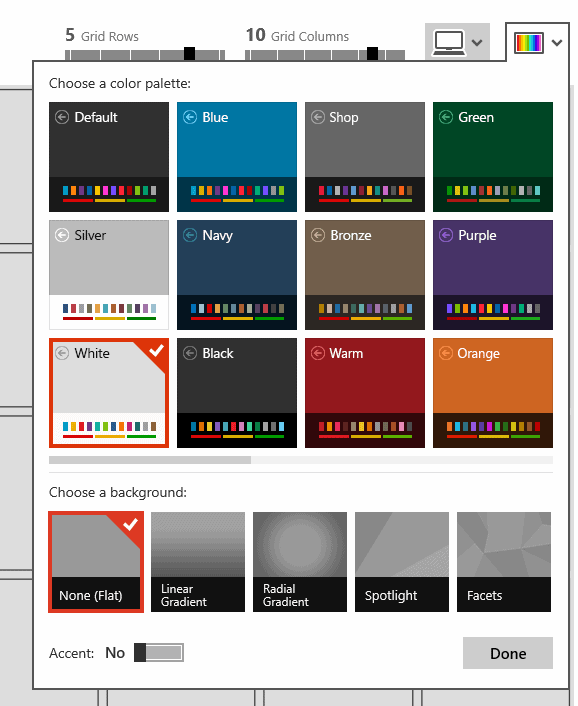 Datazen - Choix de couleurs