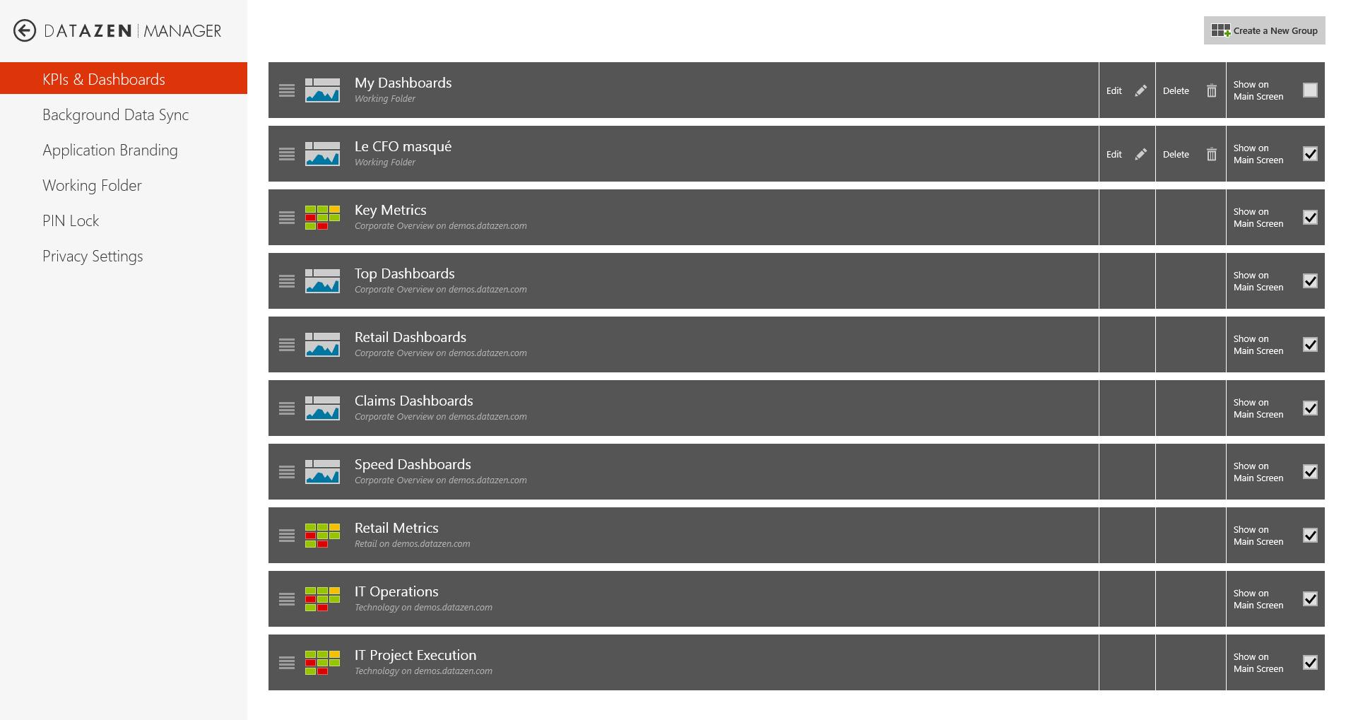 Datazen - Dashboard management