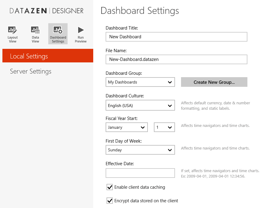 Datazen - Dashboard settings
