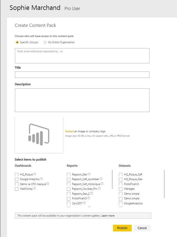 Power BI Create Content Pack Options