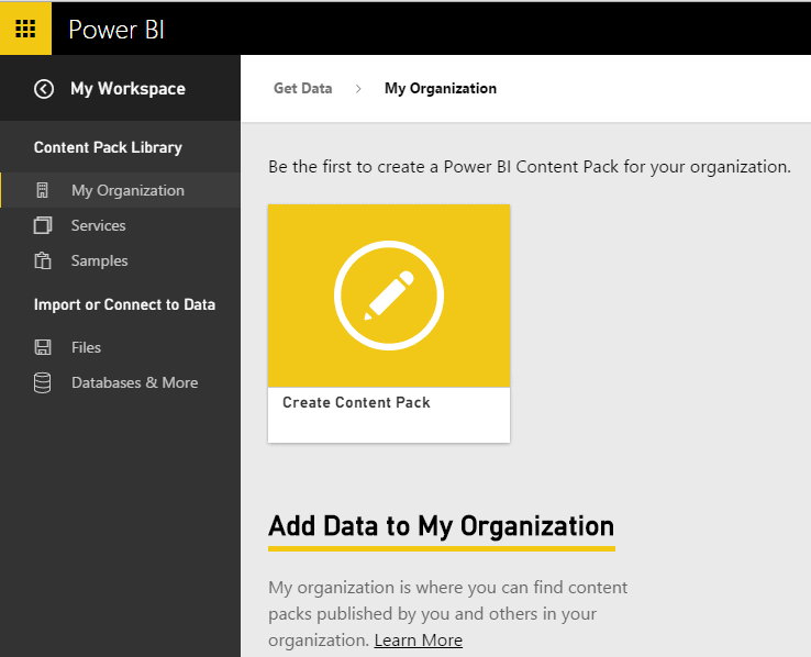 Power BI Create Content Pack