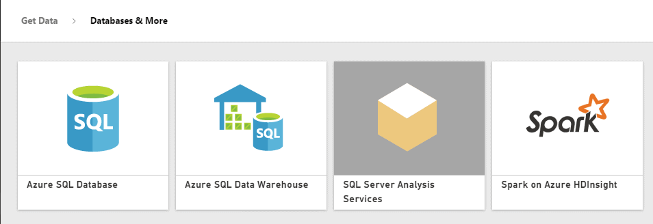 Power BI Get Data Databases
