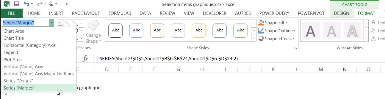 Sélectionner les éléments d'un graphique